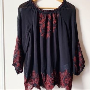 Joie black and red Ariena off the shoulder blouse